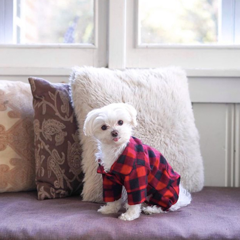 Mochi maltese plaid dog pajamas